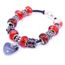 Red Personalised European Style Bracelet with Engraved Heart Charm